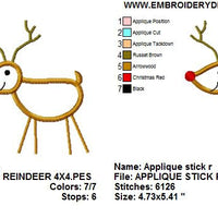 Applique Stick Reindeer Deer Christmas Machine Embroidery Design - Embroidery Designs By AVI
