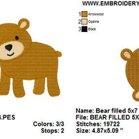 Cute Bear Machine Embroidery Design - Embroidery Designs By AVI