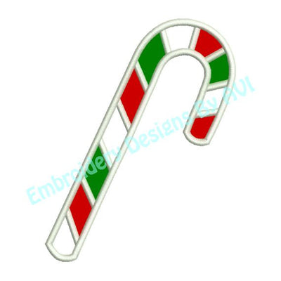 Applique Candy Cane Christmas Machine Embroidery Design - Embroidery Designs By AVI
