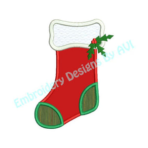 Christmas Stocking Applique Embroidery Design - Embroidery Designs By AVI
