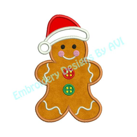 Gingerbread Santa Christmas Applique Embroidery Design - Embroidery Designs By AVI