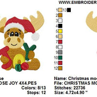 Christmas Moose Joy Saying Word Art Machine Embroidery Design - Embroidery Designs By AVI