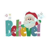 Christmas Santa Claus Believe Saying Word Art Machine Embroidery Design - Embroidery Designs By AVI