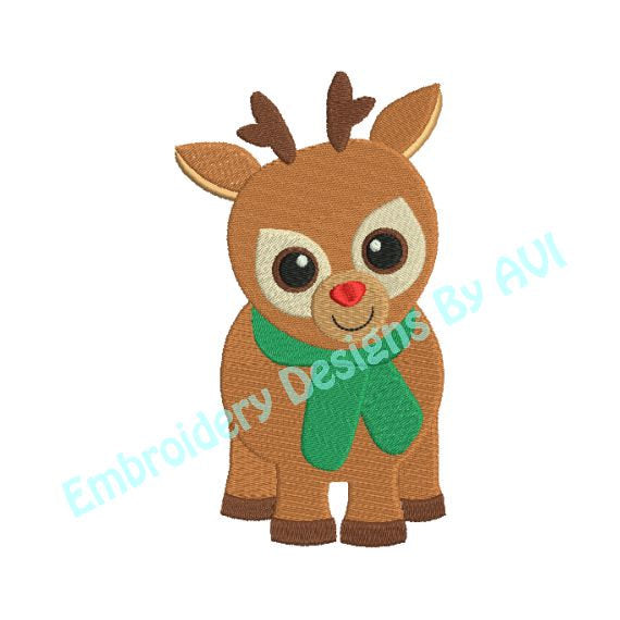 Reindeer Deer Christmas Machine Embroidery Design - Embroidery Designs By AVI