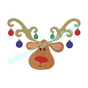 Reindeer Deer Head Antlers Christmas Ornaments Machine Embroidery Design - Embroidery Designs By AVI