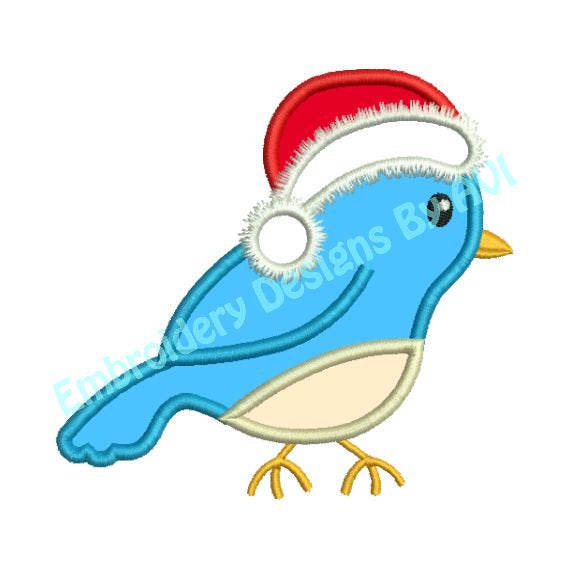 Applique Christmas Bird II Santa Hat Embroidery Design - Embroidery Designs By AVI