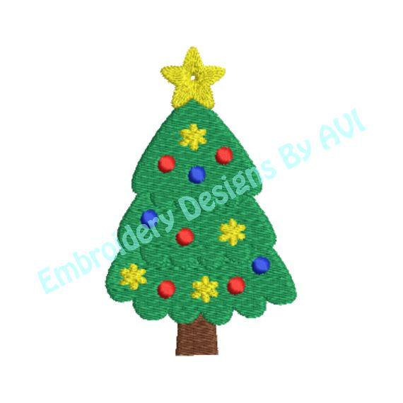 Christmas Tree II Machine Embroidery Design - Embroidery Designs By AVI