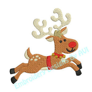 Christmas Reindeer Deer Flying Machine Embroidery Design - Embroidery Designs By AVI