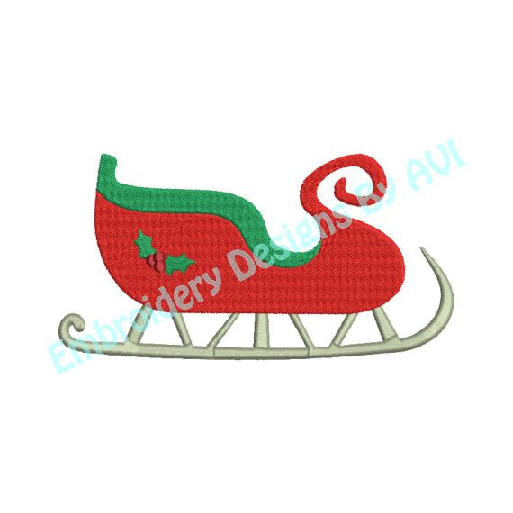 Christmas Sleigh Machine Embroidery Design - Embroidery Designs By AVI