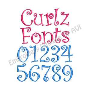 Curlz Embroidery Alphabet Font and Number Set 1 inch satin Alphabet Design Set - Embroidery Designs By AVI