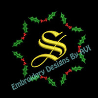 Christmas Holly Embroidery Monogram Fonts Design Set - Embroidery Designs By AVI