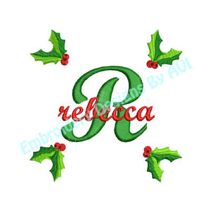 Christmas Holly II Embroidery Alphabet Monogram Fonts Design Set - Embroidery Designs By AVI