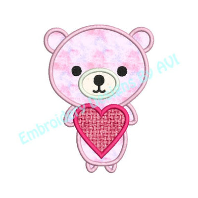 Valentine Bear Heart Applique Machine Embroidery Design - Embroidery Designs By AVI