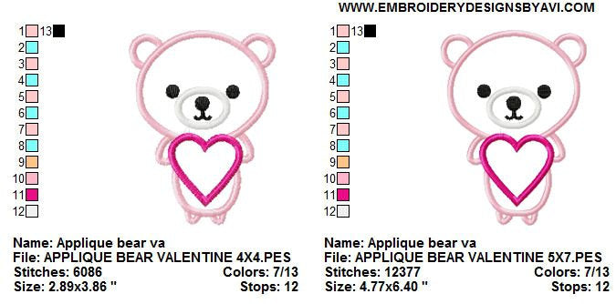 Valentine Bear Heart Applique Machine Embroidery Design Embroidery