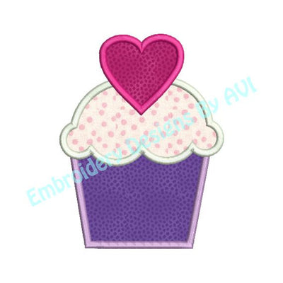 Applique Cupcake Valentine Heart Machine Embroidery Design - Embroidery Designs By AVI