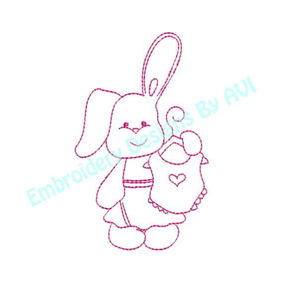 Bunny Rabbit I with Heart Bib Redwork Outline Machine Embroidery Design - Embroidery Designs By AVI