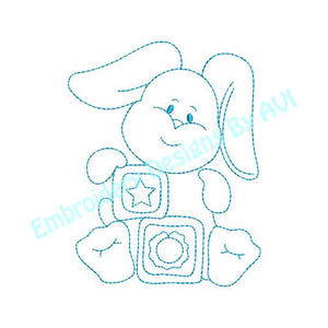 Baby Bunny Rabbit II with Blocks Redwork Outline Machine Embroidery Design - Embroidery Designs By AVI