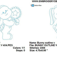 Baby Bunny Rabbit V with Lollipop Redwork Outline Machine Embroidery Design - Embroidery Designs By AVI