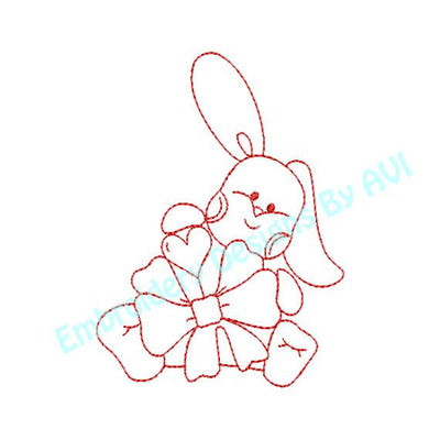 Free Baby Bunny Rabbit VI with Bow Redwork Outline Machine Embroidery Design - Embroidery Designs By AVI