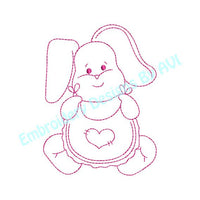 Baby Bunny Rabbit VII Heart Bib Redwork Outline Machine Embroidery Design - Embroidery Designs By AVI