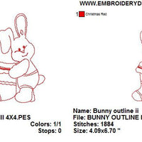 Baby Bunny Rabbit III with Stocking Redwork Outline Machine Embroidery Design - Embroidery Designs By AVI