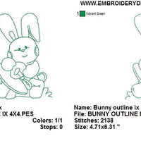 Baby Bunny Rabbit IX with Pacifier Nook Redwork Outline Machine Embroidery Design - Embroidery Designs By AVI