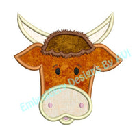Cute Bull Steer Cow Face Applique Machine Embroidery Design - Embroidery Designs By AVI
