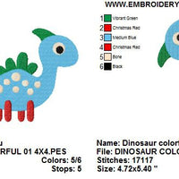 Cute Dinosaur 01 Machine Embroidery Design - Embroidery Designs By AVI