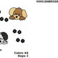 Puppy Dog and Paw Prints Frame Machine Embroidery Design - Embroidery Designs By AVI