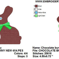 Easter Chocolate Bunny Rabbit Machine Embroidery Design - Embroidery Designs By AVI