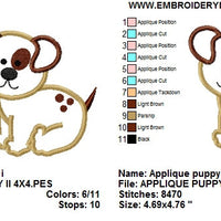 Applique Puppy Dog II Machine Embroidery Design - Embroidery Designs By AVI