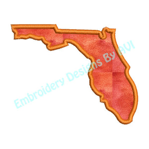Florida State Applique Outline Machine Embroidery Design - Embroidery Designs By AVI