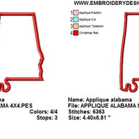 Alabama State Outline Silhouette Applique Machine Embroidery Design - Embroidery Designs By AVI