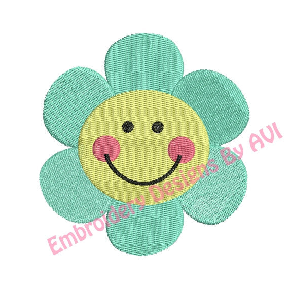 Cute Smiley Flower Machine Embroidery Design - Embroidery Designs By AVI