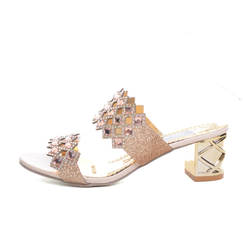 Garance The Summer 2018 Bling Slide With Chunky Heel And Geometric Rhinestone Pattern - Glam Eyes Sunglasses
