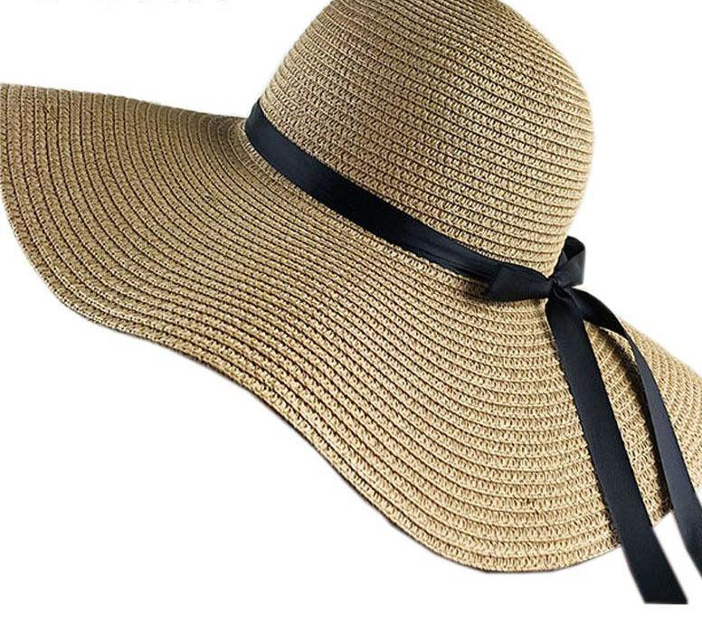 Sadie Wide Brim Straw Sun Hat With Black Bow - Glam Eyes Sunglasses