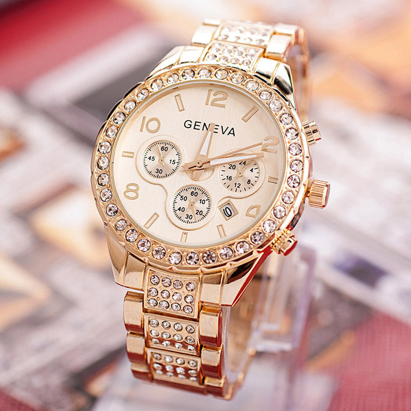 Geneva Women's Fashion Luxury Crystal Quartz Watch - Glam Eyes Sunglasses