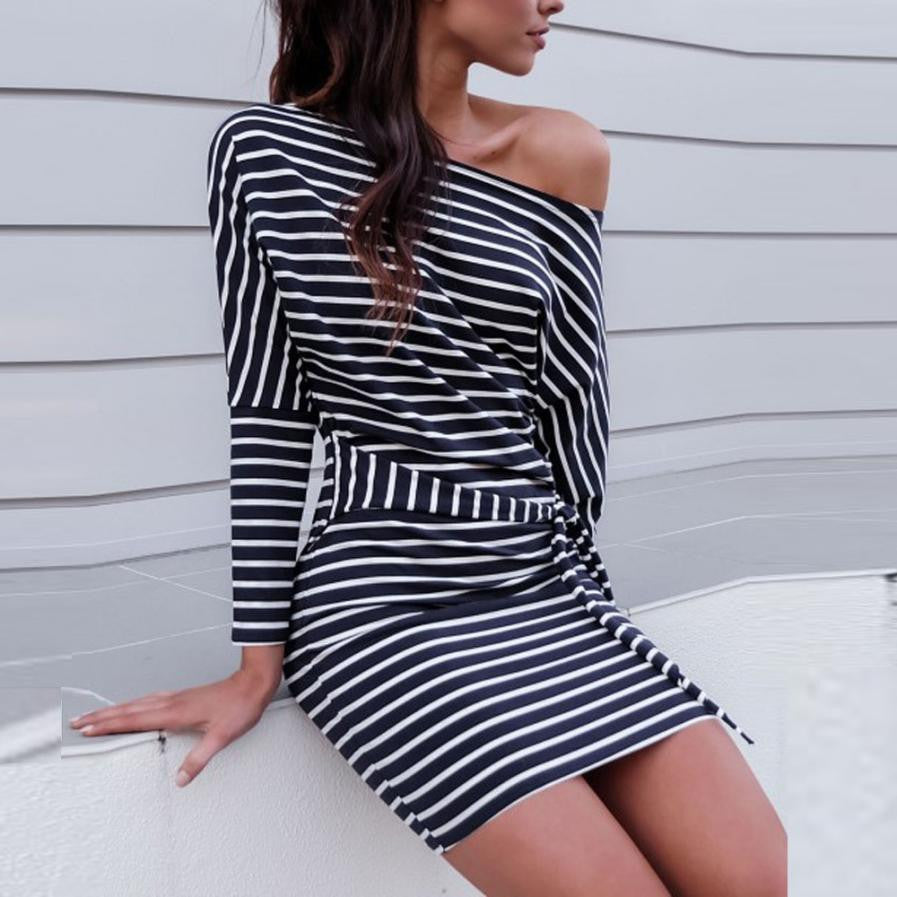 Marie Belted Striped Off The Shoulder Dolman Sleeve Summer Day Dress - Glam Eyes Sunglasses