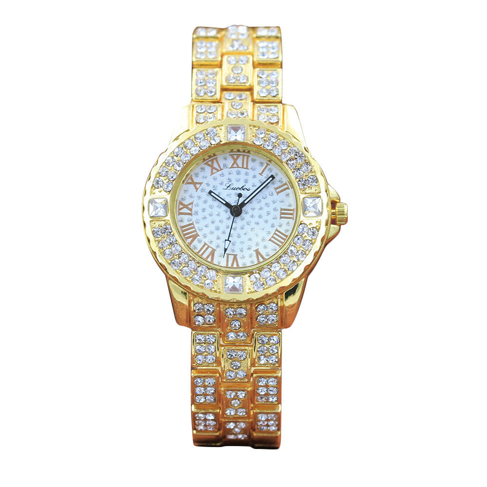 Mia MiaQuartz Round Dial Rhinestone Enhanced Elegant Gold Watch - Glam Eyes Sunglasses