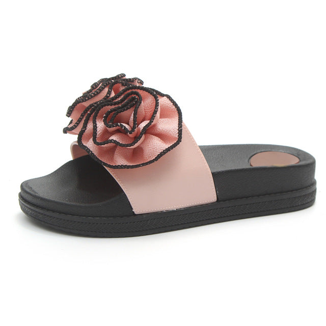 Rose Flower Comfort  Beach Slippers  In 4 Color Options - Glam Eyes Sunglasses