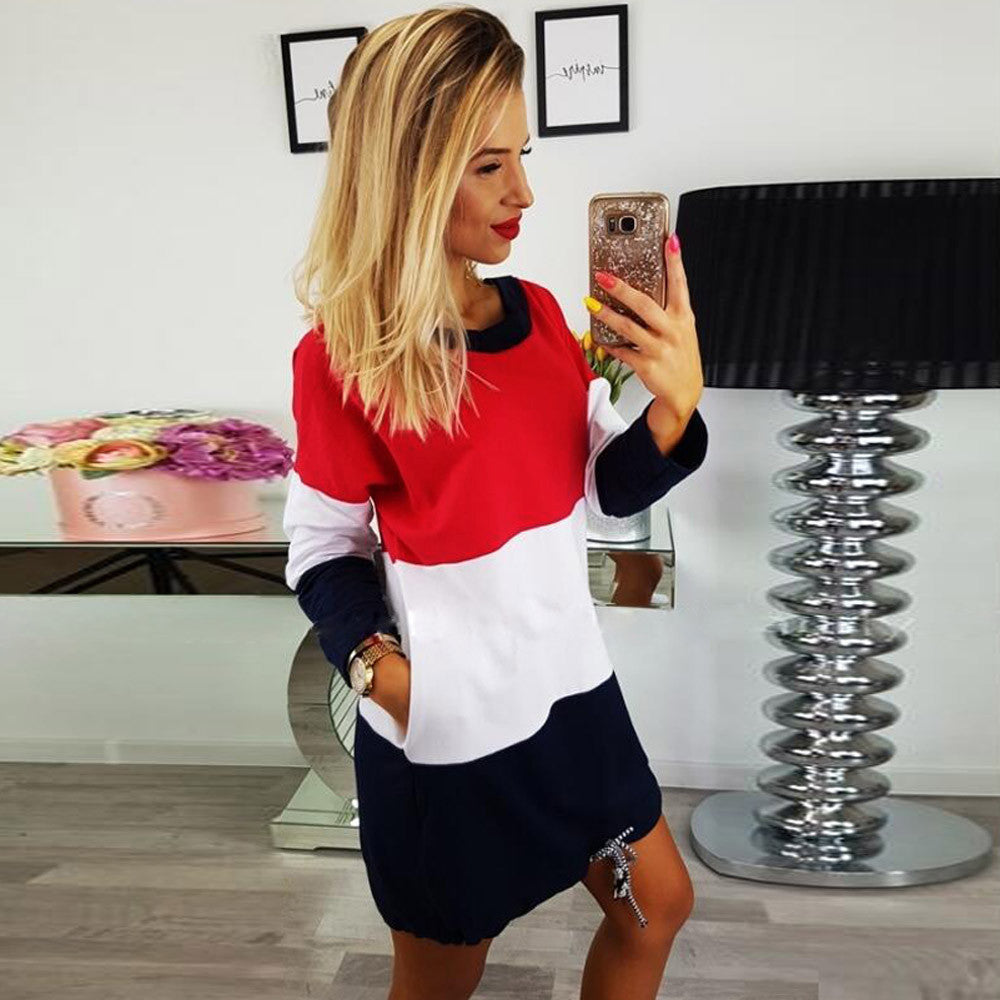 Debbie Sweatshirt Dress in Red White & Blue With Drawstring Hem Pockets - Glam Eyes Sunglasses