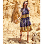 Kaydence Bohemian Summer Dress With Mix Of Printed Fabrics And Lace - Glam Eyes Sunglasses