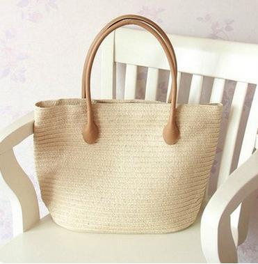 Mariam Neutral Pallete Straw Collection With Leather Handle Summer Tote 5 Color Options - Glam Eyes Sunglasses