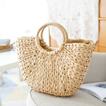 Samantha Classic Harwichport Woven Summer Straw Bag With Round Handle - Glam Eyes Sunglasses