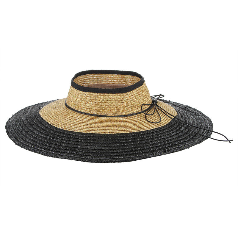 Elisa Breathable Summer Sun Hat And Wide Brim with Contrast Color & Natural Tie - Glam Eyes Sunglasses