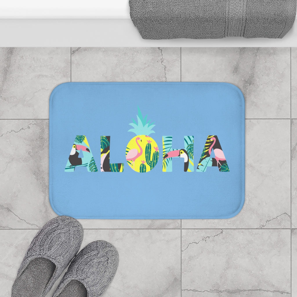 Aloha Pineapple Bath Mat (Sky Blue) - Happy Pineapple Co.