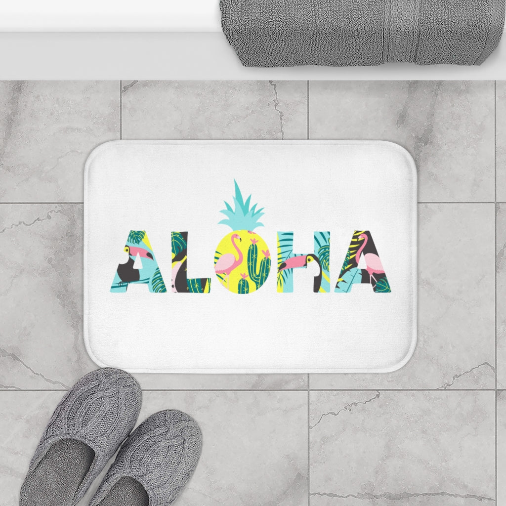Aloha Pineapple Bath Mat (White) - Happy Pineapple Co.
