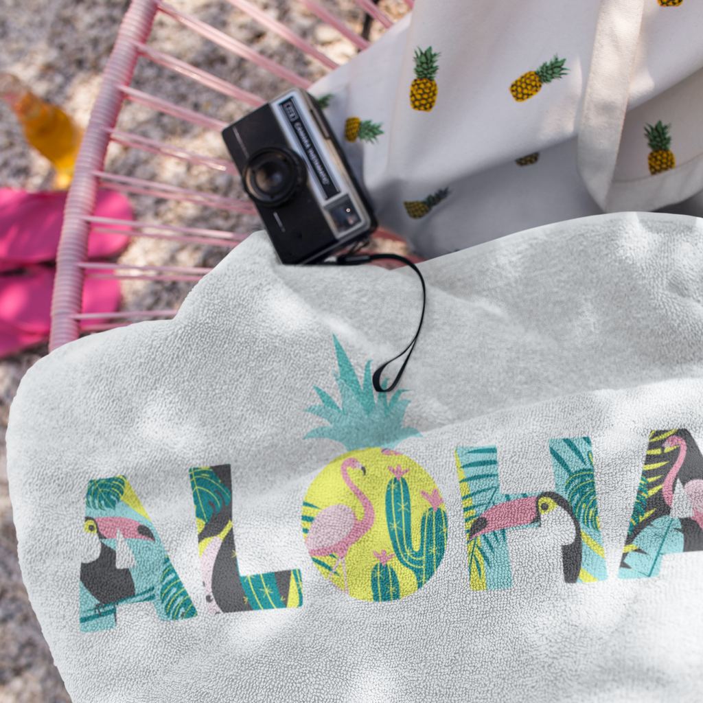 Aloha Pineapple Beach Towel (White) - Happy Pineapple Co.