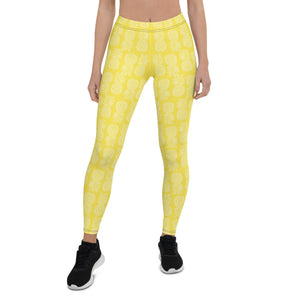 Geometric Pineapple Leggings (Sunshine Yellow) - THE PINEAPPLE EVERYTHING
