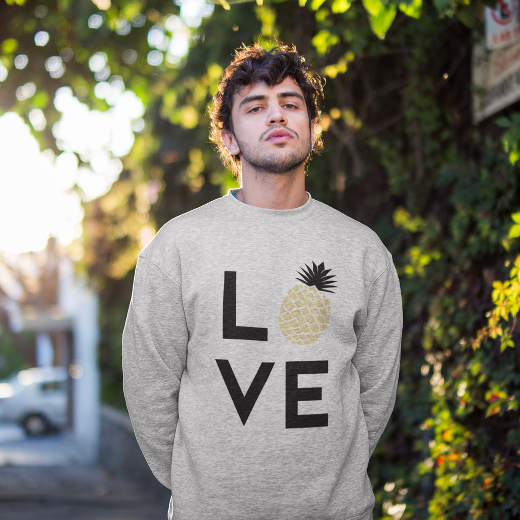 Pineapple Love Men's Crewneck Sweater - THE PINEAPPLE EVERYTHING